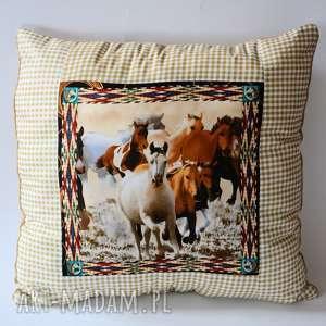 poduszki poduszka duża - konie w pędzie, poduszka, konie, country, mustang, wieś