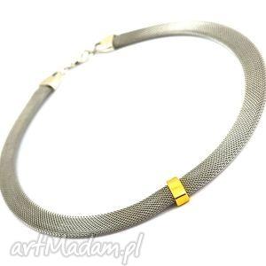 naszyjnik steel with gold stripe, naszyjnik, stal, nierdzewna, cyna, przekładka