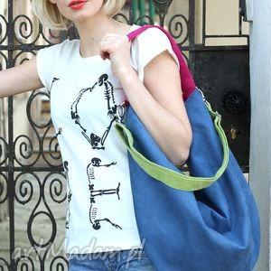 ręczne wykonanie torebki granatowa zamszowa torba z zielonymi i różowymi
