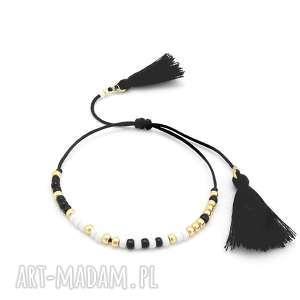 bransoletka minimal - black elegance, bransoletka, boho, letnia, lato, delikatna