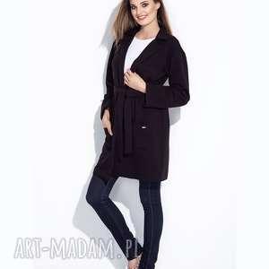 płaszcze bien fashion czarny lekki płaszcz damski wiązany na pasek bawełniany s