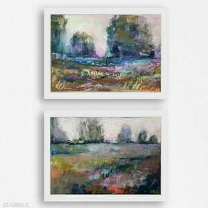 dwa pejzaże-prace wykonane pastelami