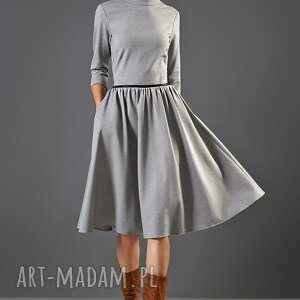 kasia miciak design popielata sukienka ze stójką, sukienka, midi, uniwersalna