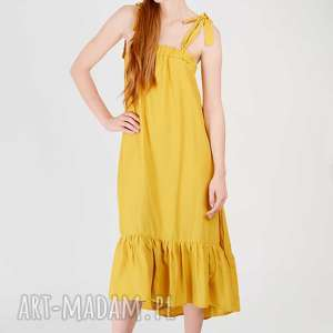 sukienki żółta sukienka z falbanką, wiazana, ramiączka, falbanka, marszczona