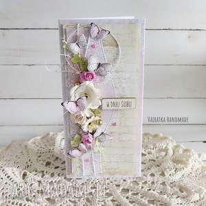 handmade scrapbooking kartki kartka ślubna z motylkami, w pudełku, 492