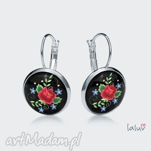 kolczyki wiszące haftowana róża, kwiaty, ludowe, folk, prezent