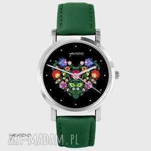 ręcznie zrobione zegarki zegarek - folkowe serce, czarne skórzany, zielony