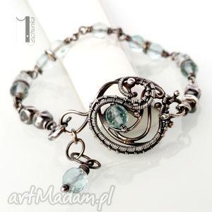 miechunka rime i - srebrna bransoleta z akwamarynem - wire wrapping, ekskluzywna