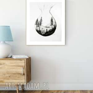 dom grafika 40x50 cm wykonana ręcznie, abstrakcja, obraz do salonu, czarno-biała