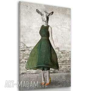 obraz drukowany na płótnie pani koza -duży format 80x120 02361, koza