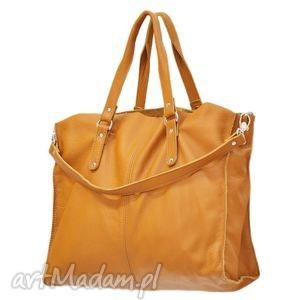 na ramię 30-0026 żółto-pomarańczowa torebka skórzana z paskiem i kontrastowymi