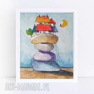 miasteczko-akwarela formatu 12,5/18 cm, miasteczko, papier, farby, akwarela