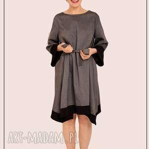 szaro czarna sukienka, elegancka, prosta, wiązanie, szerokie, rekawy, wyjątkowy