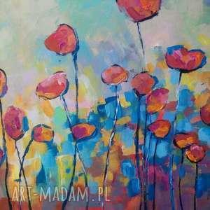 obraz na płótnie - maki-abstrakcja 40/30 cm, maki, obraz, natura, abstrakcja, akryl