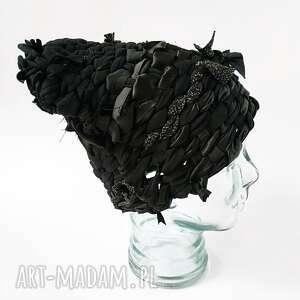ręcznie zrobione czapki czapka tkana czarna