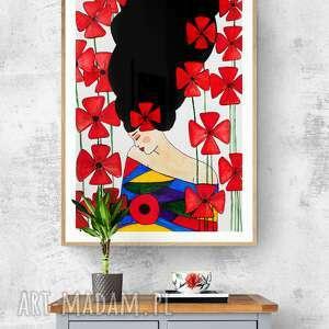 plakaty plakat 50x70 cm kobieta kwiat, plakat, wydruk, dekoracja, kobieta, obraz