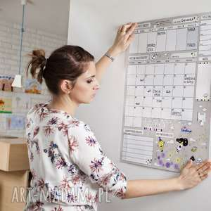 hand-made kalendarze planer miesięczny na ścianę lub szafkę dla rodziny - suchościeralny motywator - idealny prezent