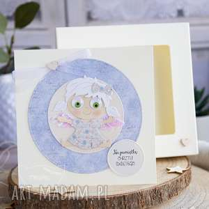 Kartka z aniołkiem w pudełeczku, personalizowana narodziny