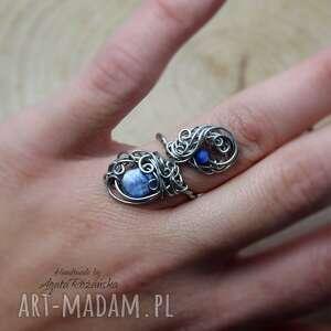 pierścionek regulowany kyanit, wire wrapping stal chirurgiczna, kianit, kyanit