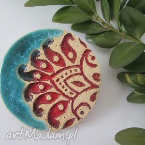 unikatowa broszka, ceramiczna, turkusowa, folkowa, etniczna
