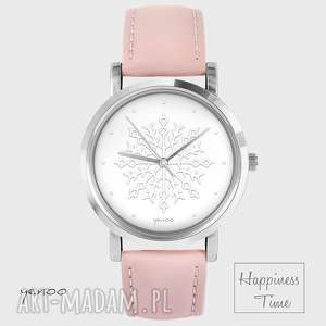 zegarek - płatek śniegu skórzany, pudrowy róż, zegarek, pasek
