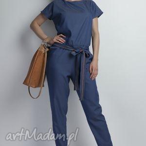 Kombinezon, KB107 jeans, kombinezon, spodnie, bluzka, elegancki, pasek, jeans