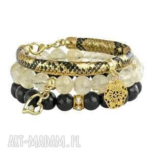 bransoletki gold carbon , jadeit, cytryn, rzemień, zawieszka biżuteria