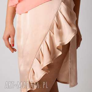 satynowa jedwabna spódnica z falbaną, jedwabna, satynowa, połysk, silk, jedwab