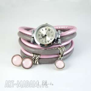 Prezent Komplet - zegarek i kolczyki szaro, różowy owijany, rzemienie,