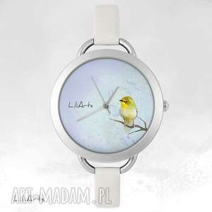 Prezent Zegarek, bransoletka - Żółty ptaszek, zegarek, bransoletka, skórzana, grafika