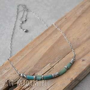 Niebieskie szkło antyczne krótki srebrny naszyjnik naszyjniki