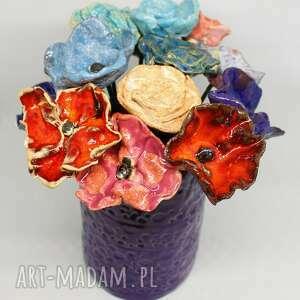 piękne kwiaty ceramiczne komplet 3 szt ceramiki ozdoba domu ogrodu kwitną cały
