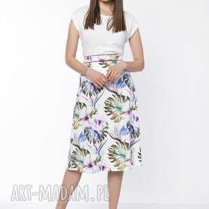 klasyczna rozkloszowana spódnica, sp121 liście, klasyczna, spódnica
