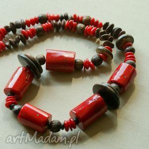 świąteczny prezent, naszyjnik z korala ii, koral, etno, heban, nasiona, srebro