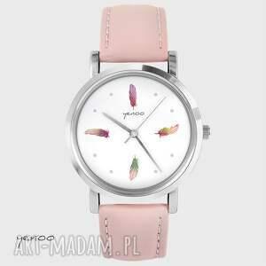 zegarek, bransoletka - kolorowe piórka pudrowy róż, skórzany