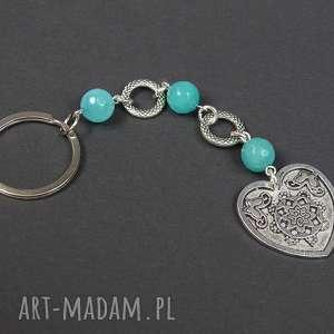 0127 mela brelok do kluczy kamień jadeit serce - brelok, do kluczy, przywieszka