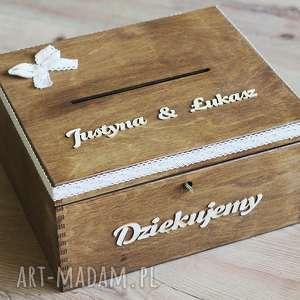Pudełko z kluczykiem - koronka kokardą ślub biala konwalia