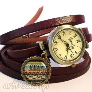 Azteckie paski - Zegarek/bransoletka na skórzanym pasku, azteckie, wzorki,