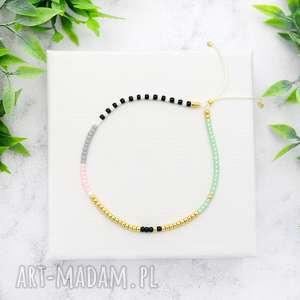 bransoletka minimal dots - mint and pink, bransoletki, koralikowe, minimalistyczne