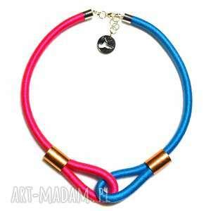 Multicolor /pink & blue/, modny, naszyjnik, dwukolorowy, etniczny, minimalistyczny
