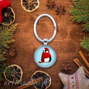 Brelok do kluczy ŚWIĄTECZNY PINGWIN - ,słodkie,mikołajki,prezent,grafika,choinka,klucze,