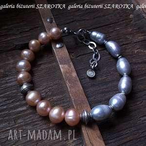 PÓŁ NA bransoletka z naturalnych pereł i srebra, perła, naturalna, słodkowodna