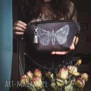 nerka xxl ćma, grafitowa, ćma owad insekt, haftowana torebka, magiczna