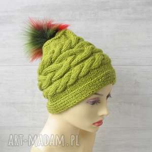 czapka z pomponem green leaves, czapka, pompon, zimowa warkocze