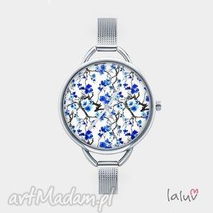 Prezent Zegarek z grafiką BLUE, grafika, kwiaty, wiosna, prezent, kwiat, łąka