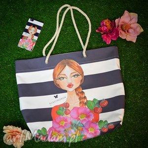 na zakupy torba - arnika botanika, torba, duża, paski, nadruk