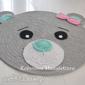 dywan misia róż-mięta 100cm - miś, dywn, szarny, kokarda, misia, dywanik