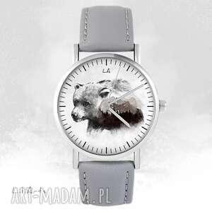 Zegarek - niedźwiedź szary, skórzany zegarki liliarts zegarek