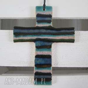 kolorowy krzyż ceramiczny, krzyżyk, na chrzest, komunia, prezent, krzyż