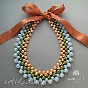 Anabela naszyjniki bead story kolia, korale, akryl, wstązka,